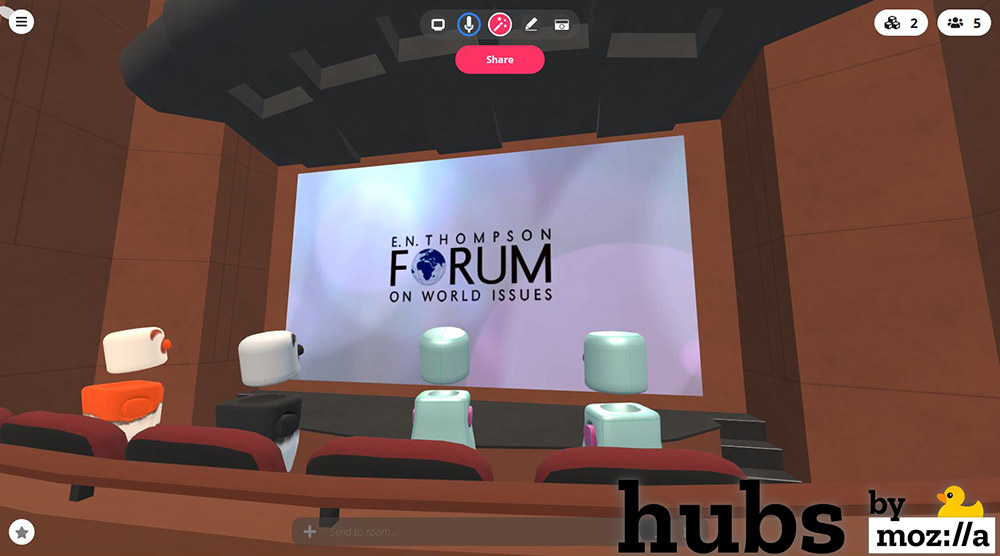 render of interior space for virtual E.N. Thompson Forum